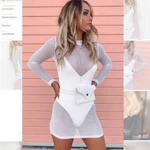 BEGINNING BOUTIQUE Tomorrowland Mesh Dress White